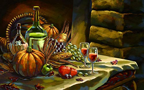 Kürbis-Traubenwein auf dem Tisch -...