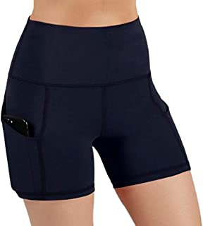 Women's Cozy High Waist Stretch Running Workout Shorts with Pocket