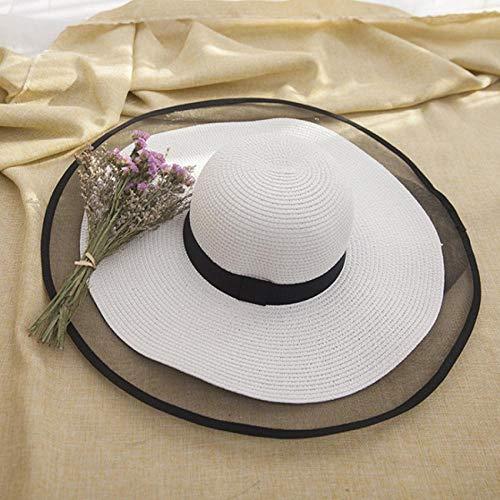 AHECZZ Sombrero,Sombreros para el Sol Mujeres Niñas Sombrero de Paja Flexible de ala Ancha Gorra de Playa de Verano