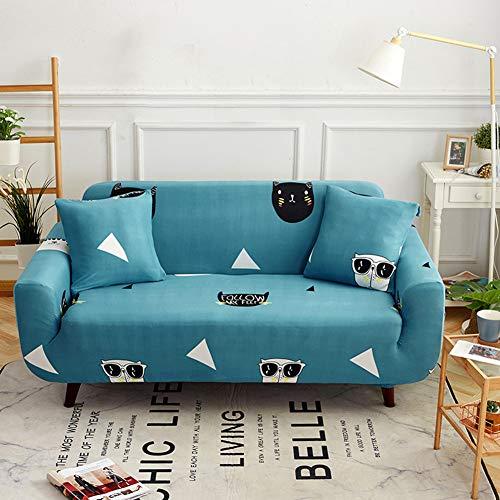 N/A Funda de sofá elástica de tela elástica con patrón de flores para sillón o sofá fundas para perro, Azul y verde., 145-185cm