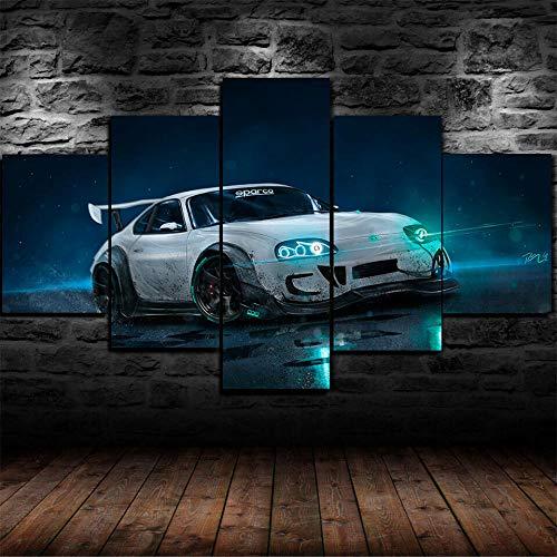 HHXXTTXS Luces de neón GTR Supra Custom Drift 5 Pieza Cuadro En Lienzo —Impresión en Lienzo Picture Artworks Arte Pared Habitación Dormitorio Moderno Decorativo 150 x 80 CM(Marco)