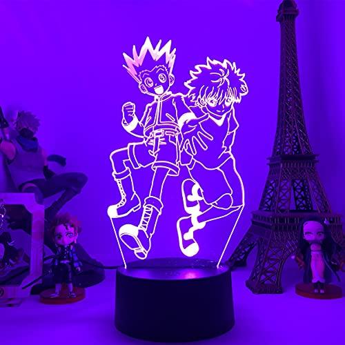 Anime Gon y Killua Figura 3D Noche Luz de la luz Lámpara de luz de la luz nocturna para la decoración del dormitorio del niño Decoración de la iluminación del niño Día de San Valentín regalo lindo
