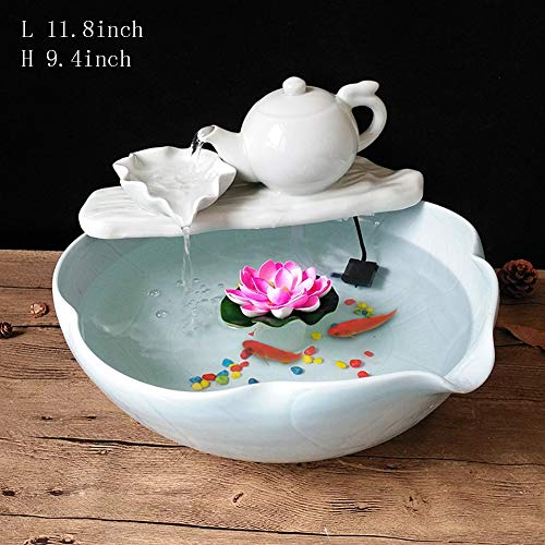 Statues Painted Desktop Fountain,Teapot Water Fountain Ceramic Desktop Waterfall Fountain Office Home Decoration Decorations Business Gifts-B 11.8inch
