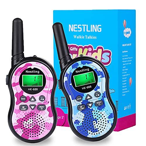 Nestling Walkie Talkie Niños, Camuflaje al Aire Libre 8 Canales LCD Pantalla Linterna Incorporado VOX, Rango de 3KM, 10 Tonos de Llamada Walkie Talkie Niñas Juguete Regalo (2pcs Rosa&Azul)