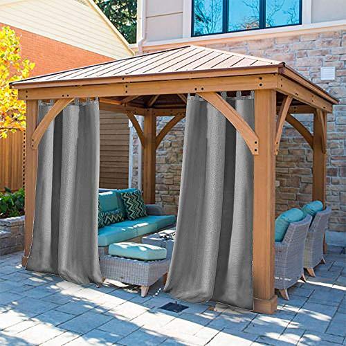 UniEco Outdoor Vorhang mit Schlaufen Gartenlauben Balkon-Vorhänge Verdunkelungsvorhänge Wasserdicht Mehltau beständig für Pavillon Strandhaus, 1 Stück,132x215cm,Grau