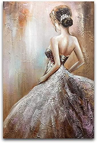 Cuadro en lienzo Vestido de novia pintado a mano Espalda de niña...