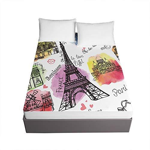 3D Sábana Bajera Ajustable Colchones Decorativa, Chickwin Torre Eiffel Impresión Suave Cómoda Transpirable Microfibra Tela- Elástico en el Borde Bolsillo Profundo 30cm (Multicolor,150x200x30cm)