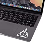 Die-Cut Vinyl Decal Sticker HP Deathly Hallow Compatible with MacBook Laptop Keyboard Trackpad Car Window (White)