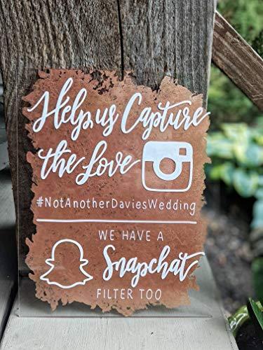 Hashtag Bruiloft Teken Gedrukt Acryl Bruiloft Teken Help Ons Vastleggen De Liefde Teken InsTag ram Bruiloft Teken Snapchat Teken Acryl Teken