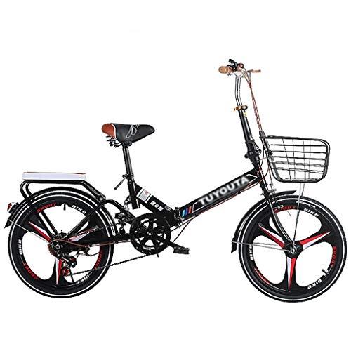 Klappräder Erwachsene Männer Und Frauen Stoßdämpfer Fahrrad Teenager Studenten Ordinary Fahrrad High Carbon Stahlrahmen Bequeme Fahrrad (Color : Black, Size : 20inches)