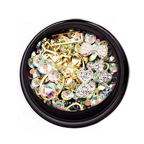 1 boîte de mode Nail Art strass 3D DIY décoration paillettes diamants pour DIY acrylique ongles téléphone portable Lunettes de décoration bowknot ensemble