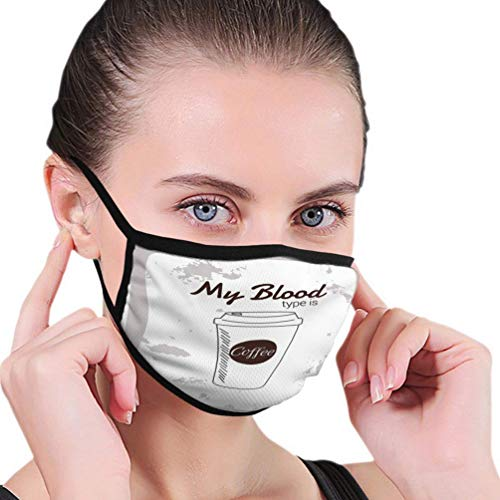 Mode Outdoor mo-uth cover, Unisex mijn bloed type koffie typografie slogan afdrukken em-broidery kleding industrie