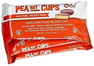 No Whey Foods - Large Chocolate PeaNot Butter Cups (3 Pack) - Peanut Free, Nut Free, Dairy Free, Soy Free, Vegan, Gluten Free