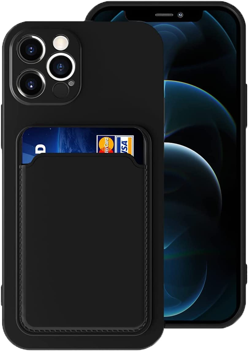 Silicone Card Case Compatible with iPhone 12 Pro Max 6.7inch, Shock-Absorbing Protective Case with Card Holder, Soft Slim Wallet Case Compatible with iPhone 12 Pro Max(2020 Release)-Black