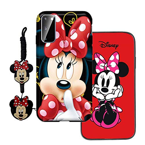 MME Cartoon Case for Galaxy Note20 Case, Note20 5G Case - Mickey Minnie Mouse Case Cute 3D Character Case Soft TPU with Phone Stand Holder and Neck Strap Lanyard for Girls (Red,Note20)