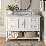 Beverly 48-inch Bathroom Vanity (Carrara/White): Includes White Cabinet with Authentic Italian Carrara Marble Countertop and White Ceramic Sink