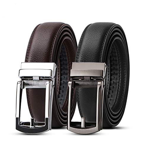 WERFORU 2 Pack Leather Ratchet Dress Belt for Men Perfect Fit Waist Size up to 44inches with Automatic Buckle,Black+Coffee,Suit Pant Size 28-44 inches