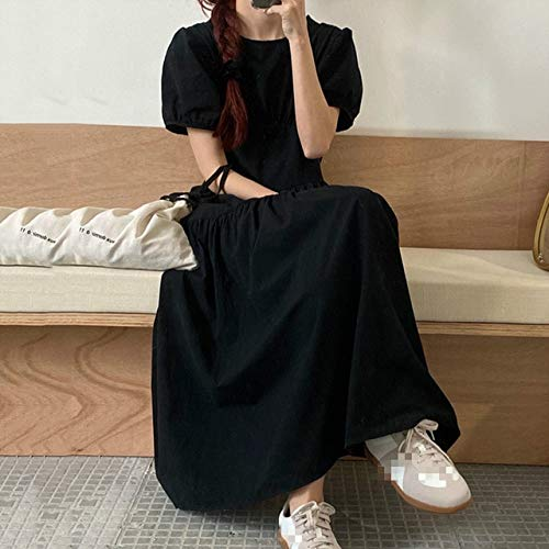 TSEINCE Hollow Out Kleid Damen Mode O Neck Puff Sleeve Damen Sommer Elegant Slim Waist Plisseekleider 1C676 One Size schwarz