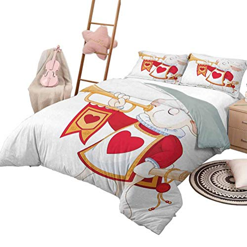 DayDayFun 3-Piece Quilt Set Alice in Wonderland Smooth Soft Quilt Rabbit Playing Royal Trumpet with Heart Design Animal Card Kids King Size White Red Yellow