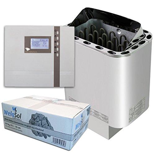 Well Solutions Saunaset | Saunaofen Edelstahl Next 6 kW | Externe Sauna Steuerung Premium D2 mit Zeitvorwahl | Sauna Technik Set aus dem Hause Well Solutions