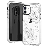 iPhone 11 Clear Case,Girls Women Cute Trendy Simple Line-Drawing Elegant Classical Chrysanthemum Daisy Floral Flowers Blooms Roses Soft Protective Clear Case with Design Compatible for iPhone 11