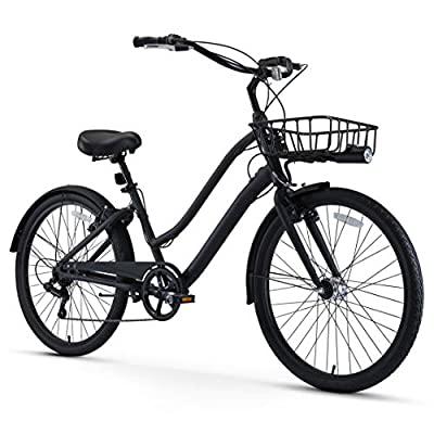 """sixthreezero EVRYjourney Men's Casual Edition 7-Speed Sport Hybrid Cruiser Bike w/Integrated Cable Lock, Light and Basket, 26"""" Bicycle, Matte Black with Black Seat and Black Grips"""