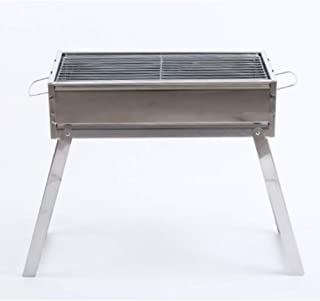 WSJS Family Outdoor Charcoal Grill Stainless Steel Folding Grills Portable Picnic Stove Smoker Barbecue for Outdoor Cooking Camping Hiking Picnics Backpacking
