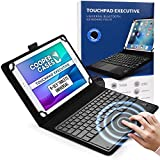 Cooper Touchpad Executive [Multi-Touch Mouse Keyboard] case for 9-10.5' Tablets | Universal Fit | iPadOS, Android, Windows | Bluetooth, Leather (Black)