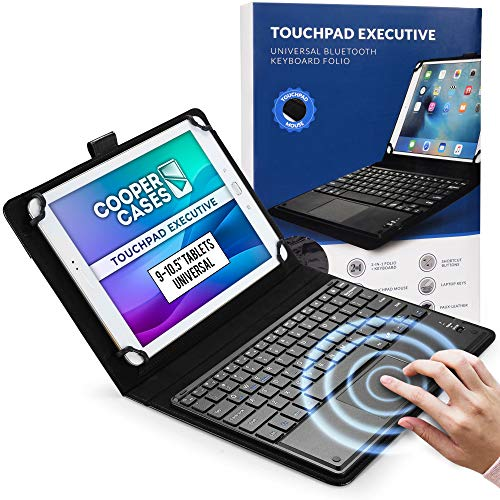 Cooper Touchpad Executive [Multi-Touch Mouse Keyboard] case for 9-10.5  Tablets | Universal Fit | iPadOS, Android, Windows | Bluetooth, Leather (Black)
