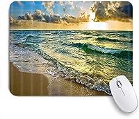 VAMIX マウスパッド 個性的 おしゃれ 柔軟 かわいい ゴム製裏面 ゲーミングマウスパッド PC ノートパソコン オフィス用 デスクマット 滑り止め 耐久性が良い おもしろいパターン (日の出の海面の表面線に沿った海のビーチと波)