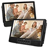 Z-Edge TW10 10.1'' Dual Screen Portable DVD Player, Built-in Rechargeable Battery, Last Memory. Car Headrest Mount Included, Support USB/SD Card Playback,1 Player+1 Screen