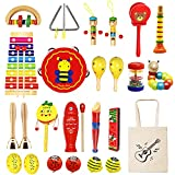 Only Better Toddlers Musical Instruments Wooden Music Toys 24 Pcs Musical Percussion Drum Set for 3 4 5 Years Olds 36 Months Up Toddlers Children Kids PreschoolGift