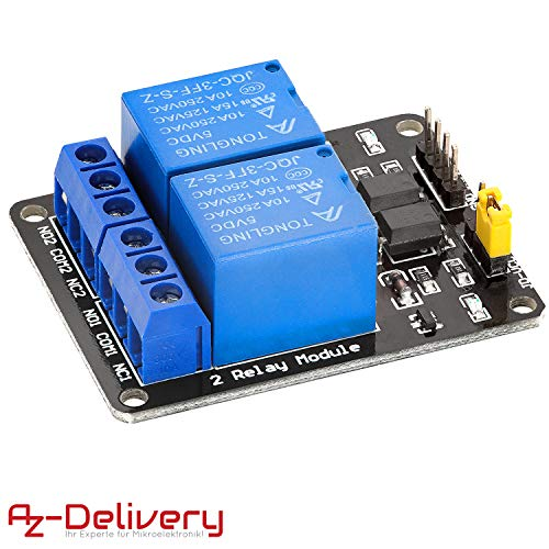 AZDelivery 2-Relais Modul 5V mit Optokoppler Low-Level-Trigger kompatibel mit Arduino inklusive E-Book!