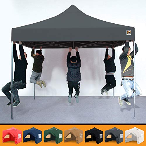 Gorilla Gazebo  Pop Up 3x3m Heavy Duty Waterproof Commercial Grade Market Stall 4 Side Panels and Wheeled Carrybag (Grey)