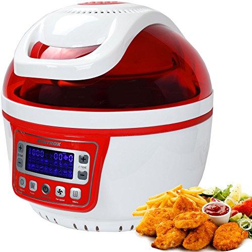 Syntrox Germany Turbo-Heißluftfritteuse Heißluftgarer Fritteuse Air-fryer mit LED-Display, 10 Liter Garraum, max. 250°, Fettfrei frittieren, rot