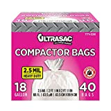 Ultrasac - 771228 Trash Compactor Bags - (40 Pack with Ties) 18 Gallon for 15 inch Compactors - 25