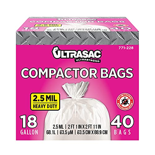 """Ultrasac - 771228 Trash Compactor Bags - (40 Pack with Ties) 18 Gallon for 15 inch Compactors - 25"""" x 35"""" Heavy Duty 2.5 MIL Garbage Disposal Bags Compatible with Kitchenaid Kenmore Whirlpool GE Gladiator"""