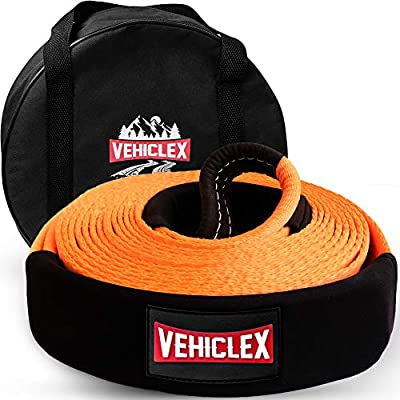 """Vehiclex Recovery Tow Strap 3"""" x 30' - 35000lbs - Heavy Duty Off-Road Snatch Strap, High Visibility Industrial Webbing, Reinforced Loops, Protective Sleeves - Truck Towing Accessory, Storage Bag"""