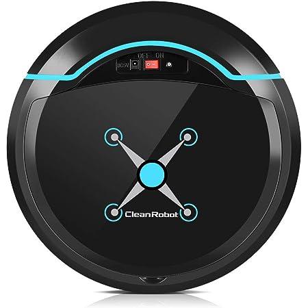 Bewinner Silencioso Robot Aspirador y Fregasuelos, Limpiador Automatico con Navegación Inteligente,Tejido de Microfibra,Robot Barredora para Suelos de Madera, Suelos de Mármol y de Nylon(Negro)