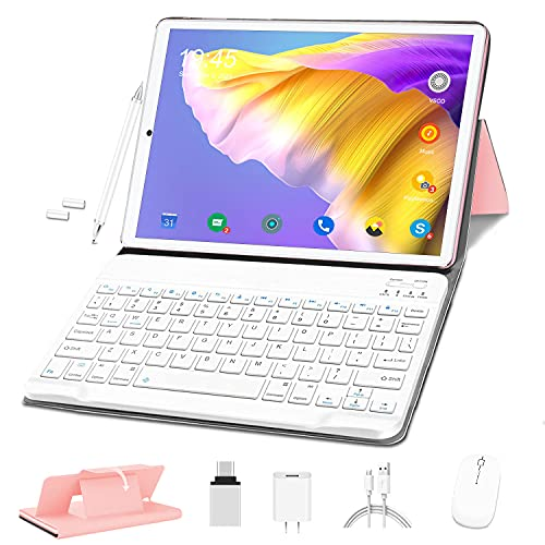 Tablet 10 Pollici HD, Android 10.0 4G Tablet PC Octa-Core 1.6 GHz 4GB + 64GB Espanso 128GB, OUZRS Tablet con Tastiera Mouse, 4G LTE, 5MP + 8MP Doppia Fotocamera, 8000mAh, Bluetooth, WiFi - Rosa