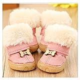 HDDFG Botas de Nieve para Perro Cachorro de Piel de Invierno, Zapatos Gruesos y cálidos para Perros pequeños, Zapatos Antideslizantes para Mascotas para caniche de Peluche (Color : Pink, Size : 5)