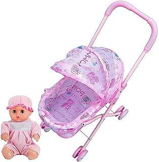 Doll Stroller Mini Simulation Baby Doll Stroller with Doll Child Pretend Play Furniture Toy Baby Pram Pushchair 1Set