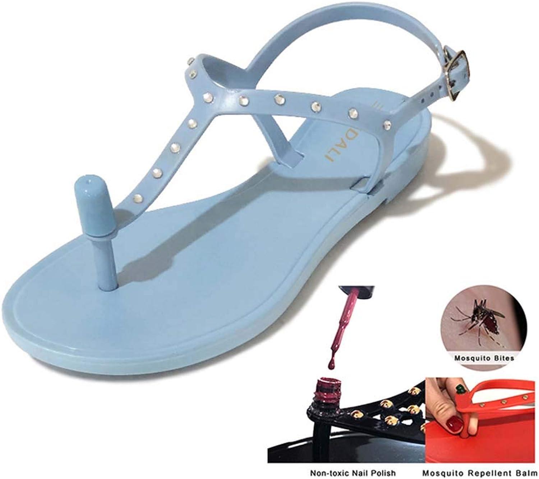 moda sautope donna Non-Toxic Nail Polish Or Mosquito Repellent Balm PVC Summer Crystal T-Strap Seals Dimensione 36-39 blu 37