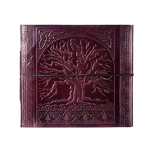 Large Tree Of Life Embossed Leather Photo Album | to fit 120 6x4 or 60 7x5 Photos | 24 x 26 cm | Fair Trade & Handmade