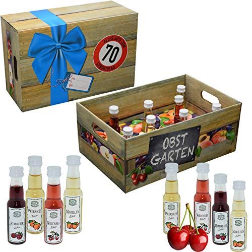 Obstgarten mit Geburtstagszahl 70. Geburtstag · Witzige Geschenkidee für Männer und Frauen mit Alkohol · 8 x Obst-Likör · Hochwertige Geschenkbox · Geburtstagsgeschenk für Männer