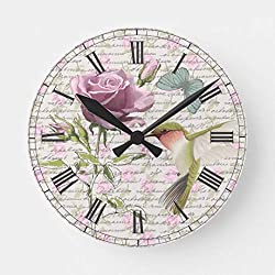 Enidgunter Vintage Hummingbird Butterfly and Rose Large Wall Clocks Decorative for Living Room Kitchen Bedroom Bathroom Home Office Decor 12 inches