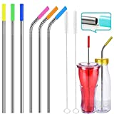 Quality Reusable Stainless Steel Drinking Straws for Cocktail Smoothie, Eco Environment Friendly Safe for Kids Children, Straw Brush included by DOLYUU