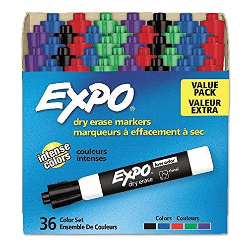EXPO Low Odor Dry Erase Marker | Chisel Tip Markers | Whiteboard Markers, Assorted, 36 Count