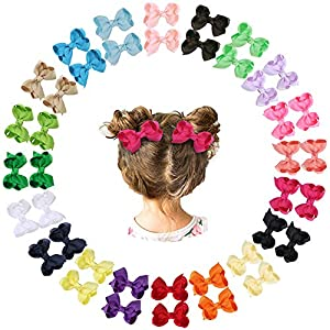 40pcs 2.5Inch Grosgrain Ribbon Hair Bows Barrettes with Alligator Clips Accessories for Girls Teens Kids Baby Toddlers