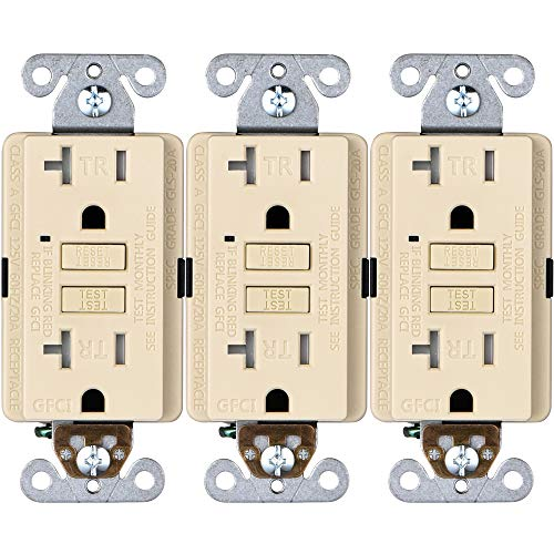 Faith [3-Pack] 20A GFCI Outlets, Tamper-Resistant GFI Duplex Receptacles with LED Indicator, Self-Test Ground Fault Circuit Interrupter, ETL Listed, Ivory, 3 Piece